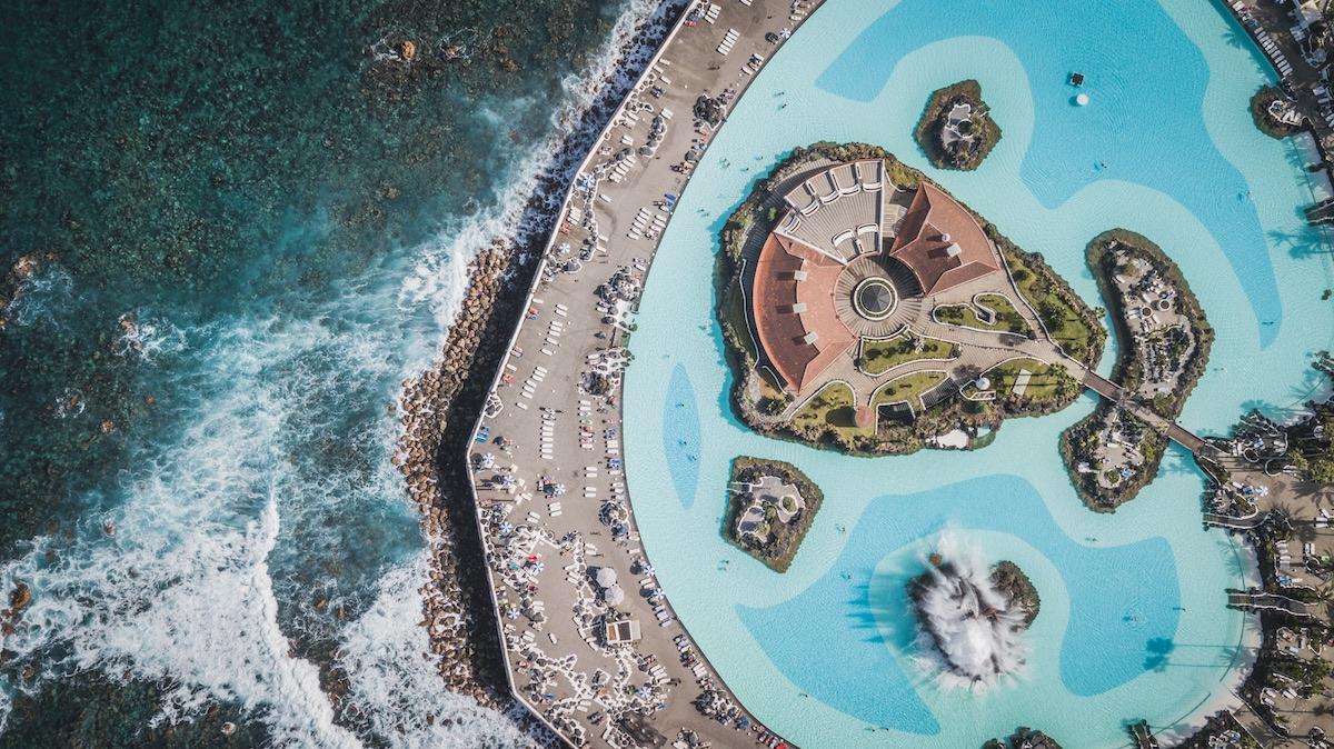 vista aérea del lago martianez